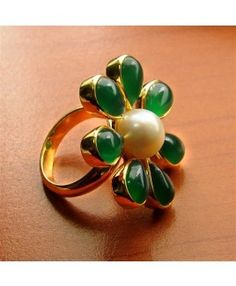 Micron Gold Plated, 925 Sterling Silver Ring Studded With Green Onyx & Pearl