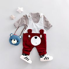 Baby boy clothes Spring New cotton material o-neck full sleeve with bear print 1 year birthday boys clothing set Cheap Kids Clothes Online, Cheap Baby Clothes, Kids Clothing, Fashion Kids, Baby Boy Fashion, Womens Fashion, Baby Outfits Newborn, Baby Boy Outfits, Kids Outfits
