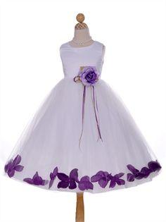 Tea Length Satin Tea Length Flower Girl Dress FGD1092