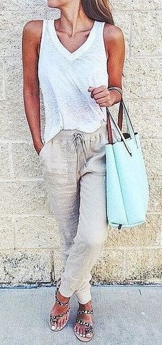 A White Tee, Slouchy Pants, and Sandals summer outfits - New Hair Style Fashion Mode, Look Fashion, Womens Fashion, Ladies Fashion, Feminine Fashion, Beach Style Fashion, Simple Outfits, Casual Outfits, Casual Summer Outfits Women
