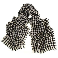 Black and Ivory Houndstooth Cashmere Scarf ($220) ❤ liked on Polyvore featuring accessories, scarves, fringe scarves, black cashmere scarves, cashmere shawl, fringed shawls and black fringed shawl