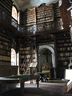 Library_of_the_Catholic_Seminar_in_Budapest,_former_monastery_of_the_Order_of_Sa. - Library_of_the_Catholic_Seminar_in_Budapest,_former_monastery_of_the_Order_of_Saint_Paul_the_First_ - Library Room, Dream Library, Paradis Sombre, Home Library Design, Beautiful Library, Slytherin Aesthetic, Home Libraries, School Libraries, Dark Wood
