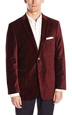 U.S. Polo Assn. Men's Velvet Blazer, Burgundy Paisley, 44 Long ❤ U.S. Polo Assn. Men's Tailored