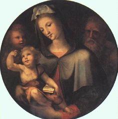 Domenico Beccafumi - Sacra Famiglia con San Giovannino - c. 1530 - Olio su tavola, diametro 84 centimetri -  Galleria degli Uffizi, Firenze