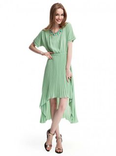 Green Long And Short In Front Irregular Pleated Chiffon Dress ($79, original price is  $94.8) http://www.udobuy.com/goods-13575.html#.UsZywdLEeeo