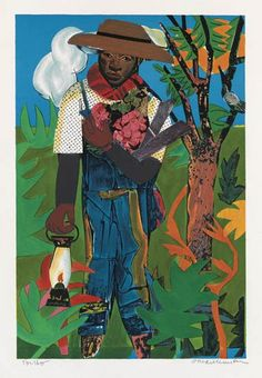 ROMARE BEARDEN (1911 - 1988)  The Lantern.    Color lithograph on cream wove paper, 1979.