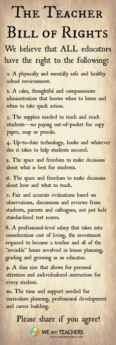 The Teacher Bill of Rights from Teacher's Lounge