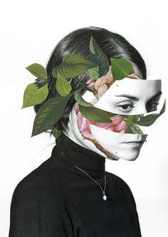 Collages de Rocio Montoya /  Le visage est déstructuré pour découvrir que l'intérieur et composé de fleur, métaphore poétique de ce qui nous composé.