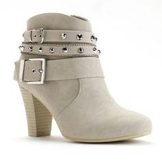 Jennifer Lopez Studded High Heel Ankle Boots, Chalk
