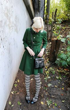 i wish i was wearing this gorgeousness right now. those striped tights with those shoe!!!