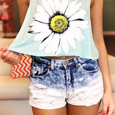 Sunflower crop top and distressed jean shorts