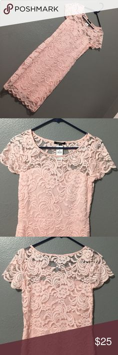 Lace overlay dress, blush Beautiful blush pink lace overlay dress. Scalloped hem and short sleeves. Planned on wearing this to a wedding but didn't go after all. Size M but can fit Small as well. Dresses Mini
