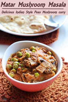 Matar Mushroom Masala, a delicious semi dry curry made from mushroom and green peas. It can be served as a side dish for roti varieties and mild pulaos.