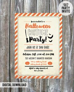 Halloween Costume Party Invite #halloween