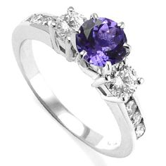 White Gold Tanzanite Diamond Engagement RingFree Personal engraving available Up to 10 characters. Purple Wedding Rings, Purple Engagement Rings, Tanzanite Engagement Ring, Purple Rings, Modern Engagement Rings, Purple Jewelry, Ring Engagement, The Purple, Purple Diamond