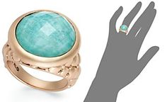 Bronzarte Amazonite and and White Quartz Doublet Ring in 18k Rose Gold over Bronze