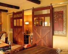 Interior sliding doors add such a wonderful deminsion to a home. Home office doors?