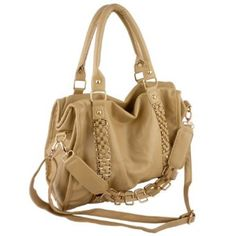 EIDER Large Leatherette Gold Chain Decor Sturdy Office Tote Bag Satchel Handbag Purse --- http://www.pinterest.com.mnn.co/10g
