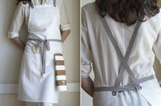 Inspiration: Oyster White Cross-Back Kitchen Apron From Studiopatró (Food52) | 100% oyster linen, and finished with sturdy nickel-plated grommets and gray cotton twill straps.
