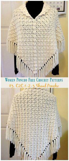 New crochet cowl poncho free knitting 47 Ideas Crochet C2c, Crochet Shawl Free, Knitted Shawls, Crochet Baby, Crochet Braids, Knitting Patterns Free, Free Knitting, Crochet Patterns, Free Pattern