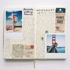 ▷ 1001 + Ideas for Adventure Journal Designs for Your Inner Traveler - scrapbook layouts, open sketchbook with photos, a ticket, a letter cutout with stamp, flower drawin - Album Journal, Scrapbook Journal, Photo Journal, Travel Scrapbook, Journal Pages, Scrapbook Layouts, Journal Ideas, Scrapbook Albums, Scrapbook Cards
