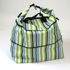 Aqua Stripe Pattern Expandable Tote Bag