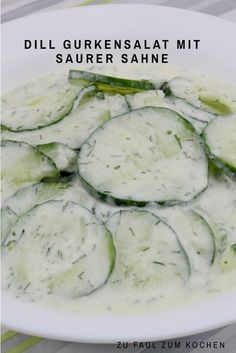 Dill cucumber salad with sour cream - too lazy to cook? - Dill cucumber salad with sour cream - Fresh Salad Recipes, Cucumber Recipes, Salmon Salad Recipes, Healthy Salad Recipes, Feta, Cucumber Dill Salad, Acid Reflux Recipes, Great Appetizers, Different Recipes