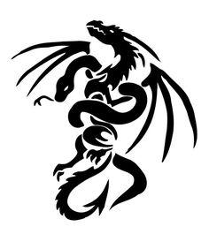 Black Tribal Chinese Snake With Dragon Tattoo Stencil By YuzukiMadoko