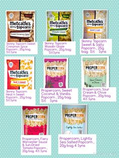 Popcorn Slimming World Syns List, Slimming World Syn Values, Vegan Slimming World, Slimming World Treats, Slimming Word, Slimming World Recipes, Healthy Extra A, Healthy Groceries, Sweet And Salty