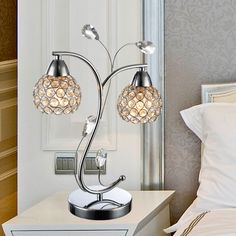Item Type: Table Lamps Emitting Color: White Brand Name: E-292 Shade Type: Shadeless Shade Direction: Down Technics: Plated Body Material: Crystal Warranty: 1 Light Source: Incandescent Bulbs Switch T