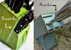 Pinned it. Made it.: Kitchen Knife Block Re-do
