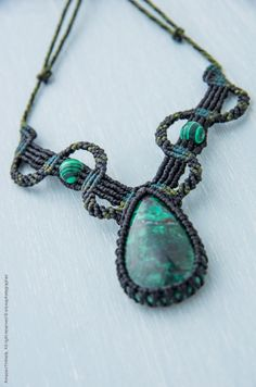 Handmade Amazonian Macrame Necklace with Chrysocalla Stone and Malachite Beads