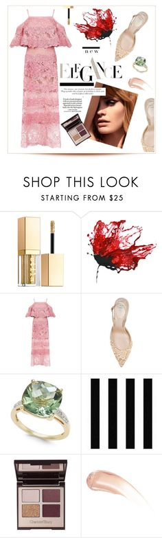 """Dream Pink"" by swankswanker ❤ liked on Polyvore featuring Stila, Elie Saab, René Caovilla, Charlotte Tilbury, Loewe, Wander Beauty, ElieSaab, wedding, lacedress and WeddingSeason"