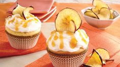 Nothing says fall better than apples! Use Betty Crocker® SuperMoist® yellow cake mix, apple cider and grated apple to bake these delicious cupcakes - perfect dessert recipe!