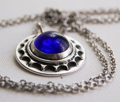 Cobalt Blue Sun Necklace. Recycled Jewelry Stone by Wearabol, $20.00