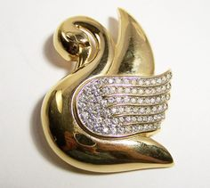Vintage Givenchy Rhinestone Swan Pin Figural by GretelsTreasures