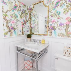 Color Inspiration - Small Bathrooms That Pack A Punch - Addicted 2 Decorating® Blue Floral Wallpaper, Bright Wallpaper, Guest Bathrooms, Small Bathrooms, Bathroom Ideas, Blue Powder Rooms, Expensive Wallpaper, Sophisticated Bedroom, Meme Design