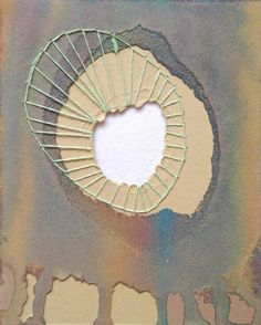 Mixed Media Watercolor Cotton Thread 4x5 Mini Artwork by 1201South, $15.00
