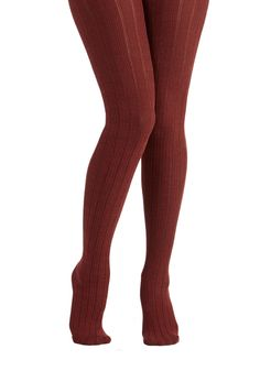 Candy Cottages Tights in Ginger. While you squeeze sugary spackle between the cookie walls of your latest construction, beneath the table, your legs are clad in these burnt-orange tights. #red #modcloth