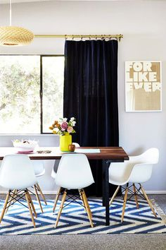 Beautifully styled dining area! Love the navy and gold features!