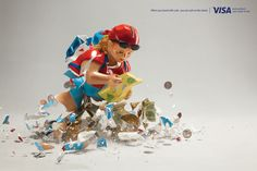 Visa: Piggy bank, 1 When you travel with cash, you are cash on the street. Advertising Agency: BBDO Mexico