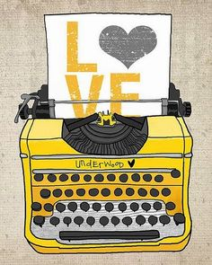 Love typewriter illustration print by Photo Images, Vintage Typewriters, Poster S, Mellow Yellow, Color Yellow, Yellow Shades, Yellow Black, All You Need Is Love, My Favorite Color