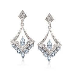 What's not to love about these stunningly elegant, vintage-style chandelier earrings kissed with diamond accents and ct. Hanging length is… Blue Diamond Jewelry, Aquamarine Jewelry, Diamond Bracelets, Diamond Earrings, Drop Earrings, Bulgari Jewelry, Cartier Bracelet, Diamond Pendant, Art Deco Jewelry