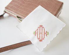 Chippendale Monogrammed Handkerchief, Cotton Handkerchief, Personalized Handkerchief,  Bridal Handkerchief, Wedding Handkerchief