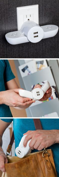 Pivot Power Mini - fold up compact adaptor with two grounded outlets and two USB ports - awesome invention! #product_design