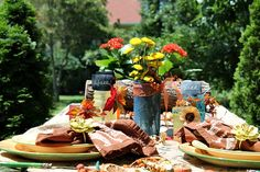 Fall outdoor tablescape with Rit dye and Mod podge mason jar centerpiece - Debbiedoo's