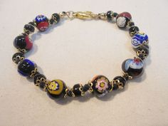 Vintage Millefiori Beaded Bracelet All Glass 12 Grams Retro Flowers Floral 1980s #Unbranded #Statement