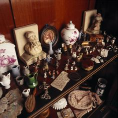 Detail of the showcase in the Treasure Room at Hill Top, Sawrey, Cumbria, the home of Beatrix Potter.