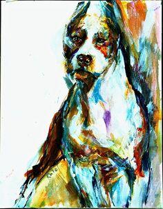 American STAFFORDSHIRE Terrier (Pitt Bull) (Amstaff) SIGNED by the ARTIST Carol Ratafia