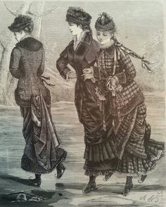Ice skating costumes, La Saison December 1880